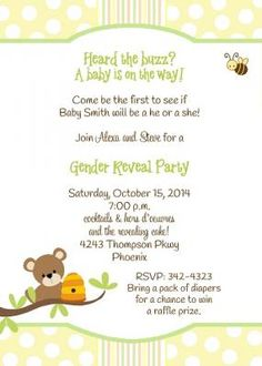 Honey Bear Gender Reveal Party Invitation with teddy bear, honey hive and bee