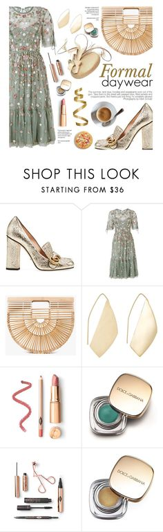 """""""Formal Daywear"""" by federica-m ❤ liked on Polyvore featuring Gucci, Needle & Thread, Cult Gaia, Ana Khouri, Dolce&Gabbana, floral, summerwedding, gucci and cultgaia"""