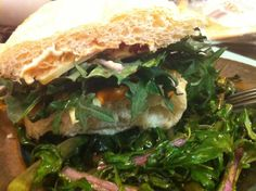 Veggie sandwich: roasted red pepper hummus, kale, pepper jack cheese, ciabatta bread on bed of buttered kale stems...  JForce: Jeremy, Tim and Kaushik.