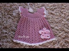 Háčkované detské šaty - 1.časť - YouTube