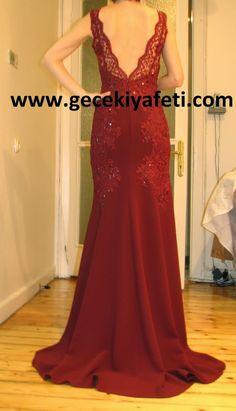 Şarap Rengi Gece Elbisesi - Özel Tasarım ~ Gece Elbiseleri | Abiye Elbise | Gelinlik Modelleri - Gece Kıyafetleri