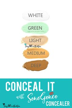 No matter your skintone, SeneGence will help you conceal any blemishes with their color corrective concealer.  There is sure to be one that matches your natural skintone; light, medium or deep.  Use Green to cover redness and white create custom colors.  #senegence #concealer #correctivecolor