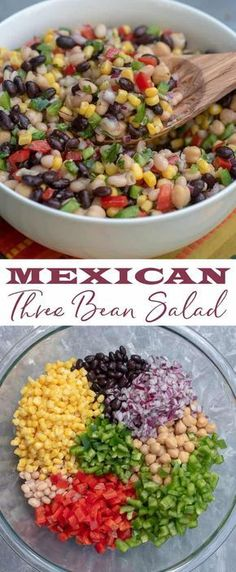 This Mexican Three Bean Salad is quick, easy and the perfect make-ahead recipe. This protein-rich vegan salad is loaded with Mexican flavours and always a favourite! The perfect no-mayo side salad for picnic and barbecue season, plus it makes fabulous healthy packed lunches! #best #easy #healthy #recipe #nomayosalad #summersalad #bbq #picnic #glutenfree #3beansalad #vegetarian #Mexicanfood Mexican Bean Salad, Mexican Salads, Mexican Food Recipes, Vegetarian Recipes, Cooking Recipes, Healthy Recipes, Mexican Beans Recipe, Salat Sandwich, Clean Eating Snacks