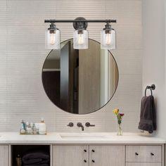 Bathroom Lights Over Mirror, Small Bathroom Mirrors, Bathroom Vanity Lighting, Bathroom Sets, Master Bathroom, Best Lighting For Bathroom, Beach Lighting, Basement Bathroom, Bathroom Vanities
