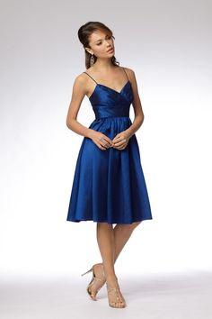 Fabric:Taffeta  Embellishment : Simple  Neckline:V neck  Straps:Spaghetti Straps  Silhouette: A Line  Sleeve: Sleeveless  Hemline:Knee length  Back: Zipper up  PHOTOGRAPHED IN:Royal Blue    Estimated Shipping Time: 25-30 days. $83.99