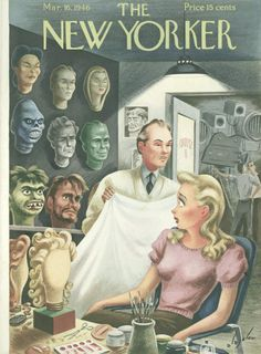 New Yorker cover Alajalov horror movie makeup man 1946 The New Yorker, New Yorker Covers, Book And Magazine, Magazine Art, Magazine Covers, Movie Makeup, Makeup Man, Vintage Illustration Art, Halloween Painting