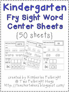 Free Kindergarten Sight Word Worksheets | Confessions of a ...