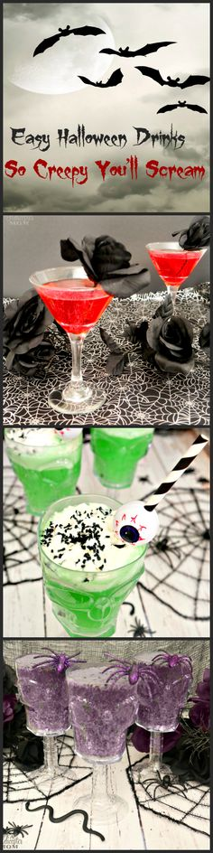 Easy Creepy Halloween Drinks - Super easy cocktails, mocktails and party drinks that are perfect for Halloween parties!