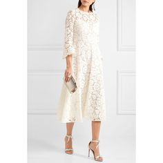 Valentino Corded cotton-blend guipure lace midi dress (24 020 PLN) via Polyvore featuring dresses, lace slip dress, lace slip, lace dress, floral lace dress and floral dresses