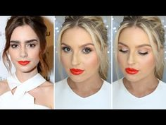 OK so Lily Collins is a massive girl crush of mine, I haaad to recreate her look. My Beauty, Beauty Makeup, Hair Beauty, Bold Lips, Bright Eyes, Lily Collins, I Love Makeup, Makeup Looks, Lip Tutorial