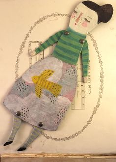 Paper mache art doll by Sarah Hand