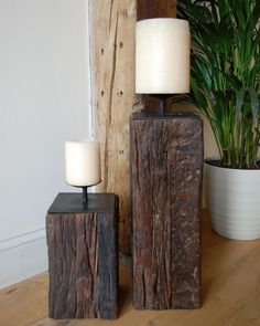 These imposing solid chunks of reclaimed wood make fantastic candle holders Heavy and built to last they look stunning on the fireplace or simply