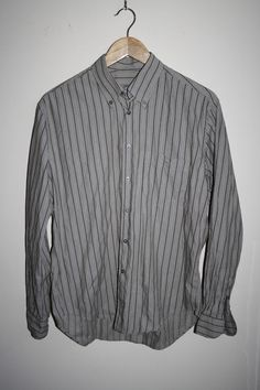 Lacoste Fashion Designer Striped Grey Men's Long Sleeve Shirt Cotton Casual 40…