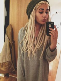 Blonde girl with dread locks soft grunge tumblr