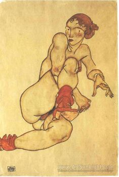 Female nude with pulled up rigth leg - Egon Schiele