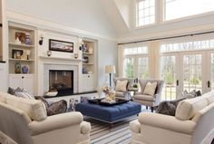 I like blue and white for the kitchen family room, but white couches are not going to work.