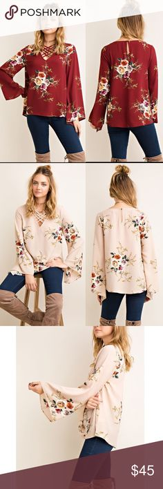 MELODIE floral print strappy neck top -BURGUNDY Floral print top with strappy neck detail. Pretty Keyhole back design with button closure. Semi sheer. Lightweight. Available in burgundy & taupe.   95%POLYESTER 5%SPANDEX  NO TRADE, PRICE FIRM Bellanblue Tops Blouses