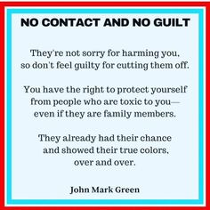 No Contact and No Guilt. They're not sorry for harming you, so don't feel guilty for cutting them off. You have the right to protect yourself from people who are toxic to you, even if they are family members. Narcissistic People, Narcissistic Mother, Narcissistic Behavior, Narcissist Father, Abusive Relationship, Toxic Relationships, Relationship Struggles, Relationship Quotes, Toxic Family Quotes
