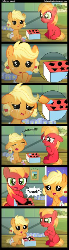 Helping a sis out. by Coltsteelstallion on deviantART Check out the blocks in the background in every panel. It's cool