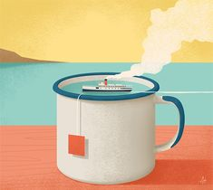 """Title: """"Cup of sea"""". Cover for Itaca magazine inspired by the topic """"migrant peoples"""" past and present. Special thanks to Giuseppina Pica. #migrants #tea #ship #magazine #refugees #travel #sea #people #illustration #conceptual #cupoftea #escape"""