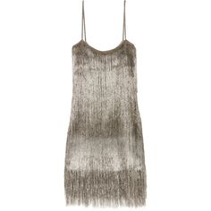 Rachel ZoeDella Fringed Open-knit Mini Dress ($495) ❤ liked on Polyvore featuring dresses, silver, short brown dress, rachel zoe dresses, mini dress, tiered mini dress and slip on dress
