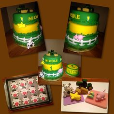 Adorable farm cake and cow cookies!