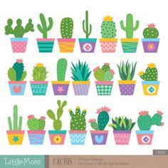 Cactus and Llama Clipart - Adorable Alpaca and Desert Vector Clip Art Set - Digital Design Elements with Unique Tribal Patterns Deco Cactus, Cactus Decor, Cactus Flower, Flower Pots, Cactus Clipart, Llama Clipart, Garden Clipart, Cactus Craft, Cactus Drawing