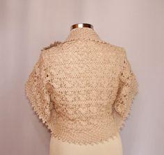 My Immortal / Bridal Shrug Bolero Crochet Champagne Wedding Bolero Jacket Short Sleeve Cardigan S M L / by Lilithist