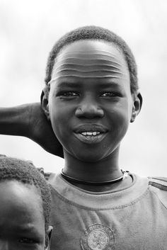 Young boy with Nuer tribal facial marks