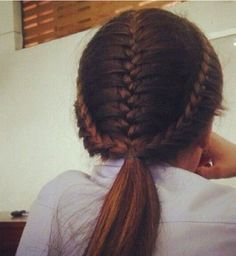 Three French braids into a pony tail. Cute, simple, and fun!