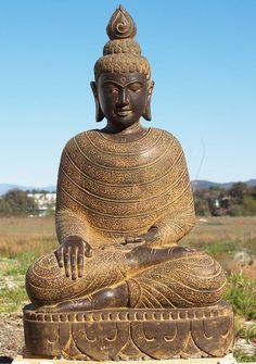 "View the Stone Earth Touching Buddha 44"" at Hindu Gods"