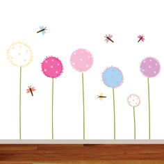 Wall Decal - Wall Decal Nursery Flower - Vinyl Wall Decal Dandelion - Wall Stickers - Baby Decal by wallartdesign on Etsy https://www.etsy.com/listing/203999384/wall-decal-wall-decal-nursery-flower