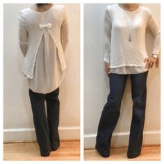 Bow back sheer trim top ONE HOUR SALE So pretty knit off white top with now back and chiffon trim top from my buying trip in Paris also available in black and olive green Made in Italy Tops