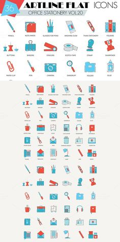 36 Office stationery icons set.