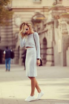 Missguided Baby Blue Knitted Skirt And Top Suit