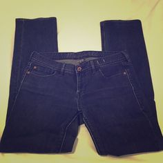 """Madewell Rail Straight jeans Rail Straight jeans from Madewell - in great condition! Size 29 x 32. They are a dark blue wash and thick, but still stretchy fabric making them very flattering. These are too long on me, I'm not sure why I bought a 32"""" inseam . There is some slight normal wear on the seams in the crotch area, but nothing noticeable when they're on. Otherwise in perfect condition! Offers welcome  Madewell Jeans Straight Leg"""