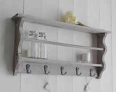 Wooden wall shelf with hooks. Simple and affordable Scandi, New England and French furniture pieces with fast delivery