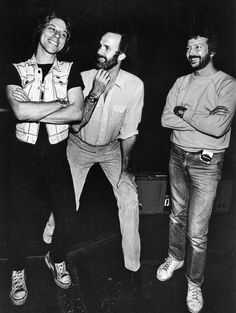 Jeff Beck, John Cleese and Eric Clapton backstage at The Secret Policeman's Other Ball, 1981. Photo by Adrian Boot.
