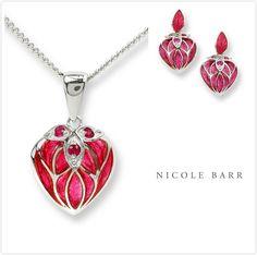 NICOLE BARR ENAMEL LANTERN FLOWER RUBY NECKLACE