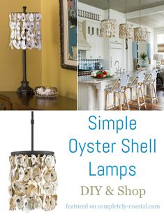 Simple oyster shell cylinder lampshade and oyster shell pendant light ideas. Featured on Completely Coastal. Shell Lamp, Shell Chandelier, Shell Pendant, Chandeliers, Oyster Shell Crafts, Oyster Shells, Coastal Light Fixtures, Diy Pendant Light, Diy Shops