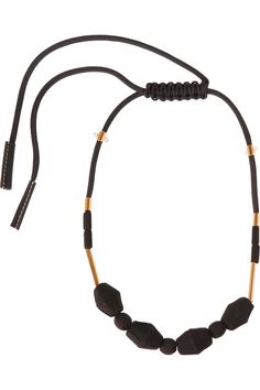 MARNI Gold-tone, rope and wood necklace €400.00 http://www.net-a-porter.com/products/542033