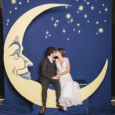 """Swap in: A DIY photo backdrop""""I had a couple make a really cool moon and bench…"""