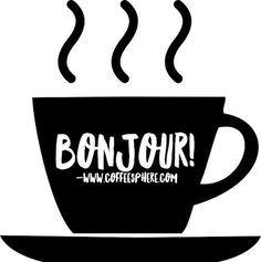 bonjour in coffee cup