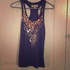 HP DeCree Ombré Sequins Racerback Tank Top Best in Tops! Host Pick DeCree Ombré Sequins Racerback Tank Top. Size Small. Color Grey with Gold & Silver Sequins on front. Excellent condition! Very Cute! Decree Tops Tank Tops