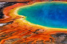 The Multicolored Hot Grand Prismatic Spring in Yellowstone, USA