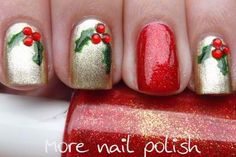 Christmas nails. I think I'd actually invert this, and have 4 red nails and one gold nail with the holly on my ring finger.
