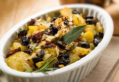 Here's a simple way to bring out great flavor in roasted potatoes. Roasted potatoes are always a treat no matter what; the olives add little bursts of flavor in every bite