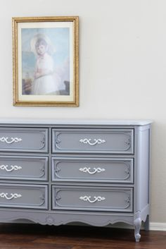 dresser painted chantilly lace by bm which has a hint of gray in it love the gold handles. Black Bedroom Furniture Sets. Home Design Ideas