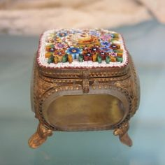 Antique Micro Mosaic jewelry casket, 19th century
