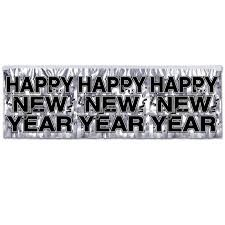 "Metallic New Year Banner Silver (includes 1 banner in a pack that measures 14"" x 4 ft)"